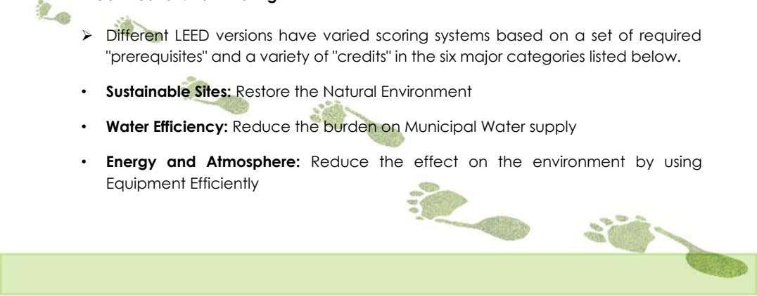 " Different LEED versions have varied scoring systems based on a set of required ""prerequisites"""