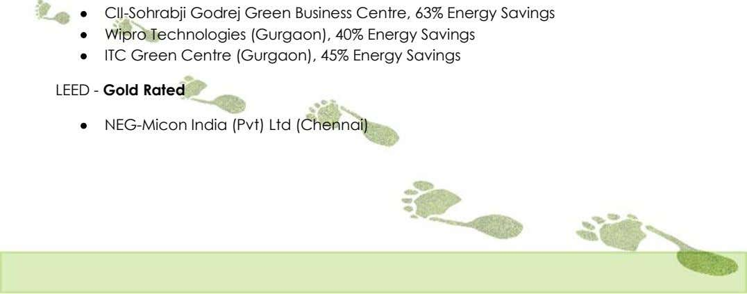  CII-Sohrabji Godrej Green Business Centre, 63% Energy Savings  Wipro Technologies (Gurgaon), 40% Energy