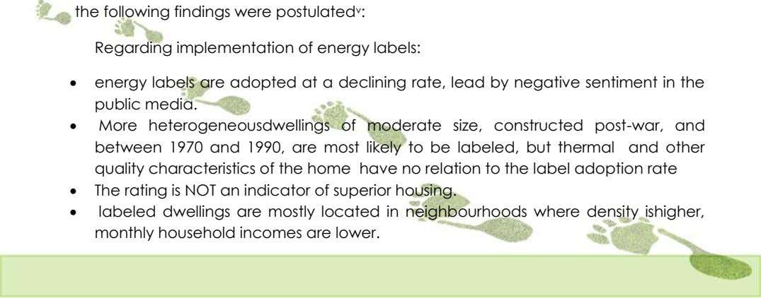 Regarding implementation of energy labels:  energy labels are adopted at a declining rate, lead