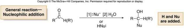 elements of H and Nu are added to the carbonyl group. Addition of a nucleophile and