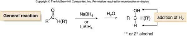 or LiAlH 4 followed by protonation forms a 1° or 2° alcohol. Hydride reduction occurs via