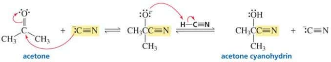 Cyanohydrins Addition of HCN across C=O. Treatment of an aldehyde or ketone with NaCN and a