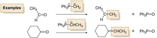 a ketone or an aldehyde into a new C=C double bond. Wittig reagent, phosphorus ylide is