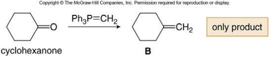 being the minor product. • Using the Wittig reaction to achieve the same synthesis gives only