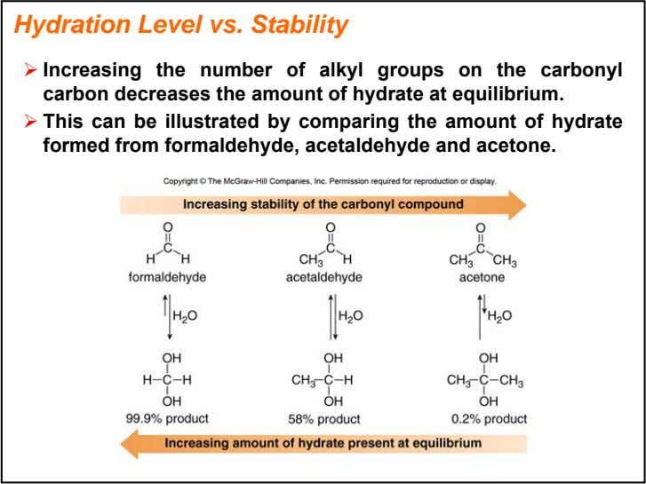 Hydration Level vs. Stability Increasing the number of alkyl groups on the carbonyl carbon decreases