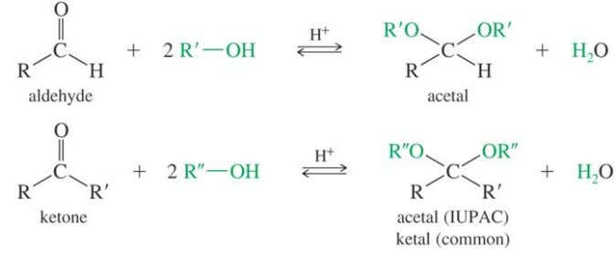 Formation of Acetals Involves addition of two alcohol molecules and elimination of one water molecule. Must