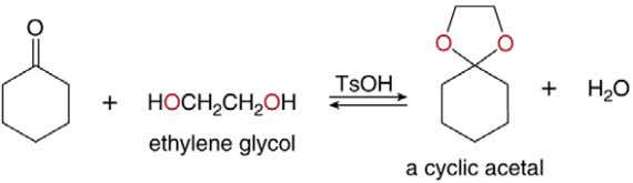 • When a diol such as ethylene glycol is used in place of two equivalents of