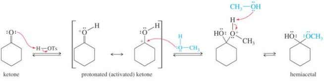 Mechanism Part 1: Acid-catalyzed addition of alcohol. Hemiacetal is too unstable to be isolated and purified.