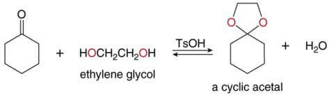 of two equivalents of ROH, a cyclic acetal is formed. Like gem -diol formation, the synthesis
