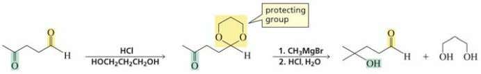 a ketal in this synthesis The more reactive aldehyde is protected with the diol before reaction