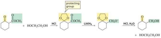The keto group is protected as a ketal in this synthesis The more reactive aldehyde is