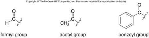 Acyl Groups Sometimes, acyl groups must be named as substituents. The three most common acyl groups