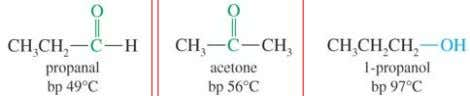 comp arable alkane or ether. Cannot form H-bond with each other, so lower boiling point than