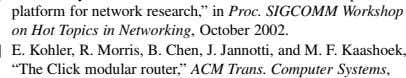 "R. Morris, B. Chen, J. Jannotti, and M. F. Kaashoek, ""The Click modular router,"" ACM Trans."
