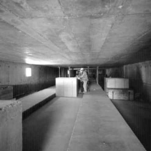Figure 4: The completed section of the delay line tunnel. Figure 5: Inside the building
