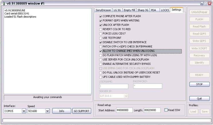 TO USB INTERFACE v. ALLOW TO CHANGE IMEI WHEN UNLOCKING e. Go back to Sony Ericsson
