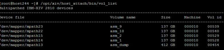 with XIV To view the new LUNs run the vol_list command. Figure 21: List all mpath
