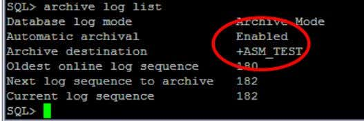 from sqlplus command line: SQL> archive logs list Figure 22: Validating that the ARCHIVELOG mode is