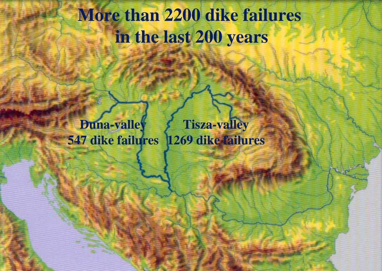 More than 2200 dike failures in the last 200 years Duna-valley 547 dike failures Tisza-valley