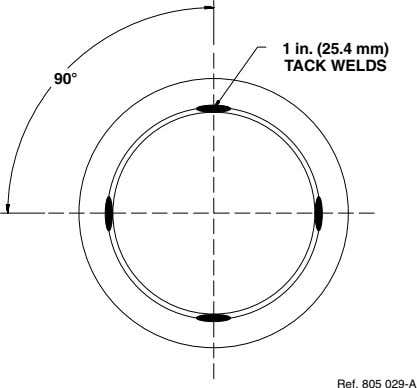1 in. (25.4 mm) TACK WELDS 90 Ref. 805 029-A