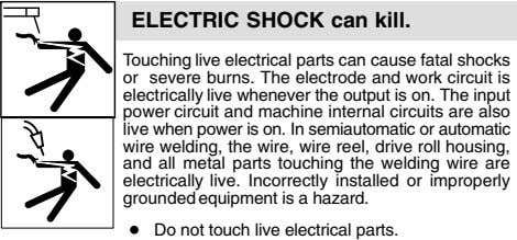 ELECTRIC SHOCK can kill. Touching live electrical parts can cause fatal shocks or severe burns.