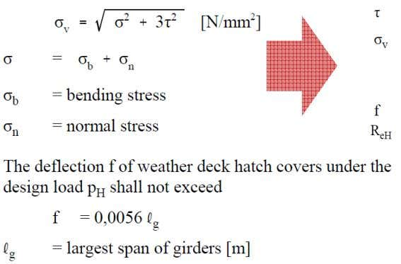 below: The equivalent stress σv in steel hatch cover structures related to the net thickness shall
