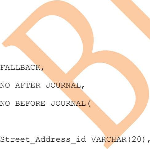 FALLBACK, NO AFTER JOURNAL, NO BEFORE JOURNAL( Street_Address_id VARCHAR(20),