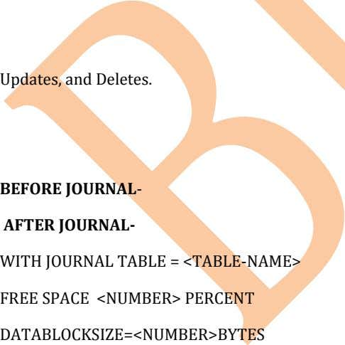 Updates, and Deletes. BEFORE JOURNAL- AFTER JOURNAL- WITH JOURNAL TABLE = <TABLE-NAME> FREE SPACE