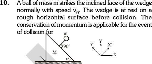 10. A ball of mass m strikes the inclined face of the wedge normally with