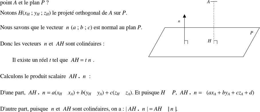 point A et le plan P ? A Notons H(x H ; y H ;
