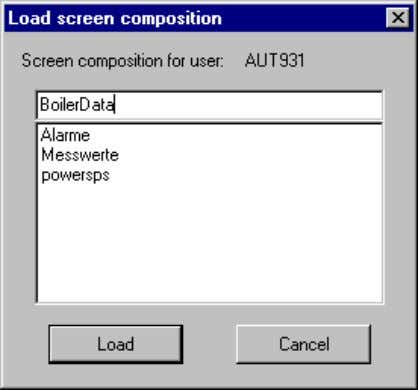 Basic Process Control 08.97 You can load any number of picture compositions for each user. You
