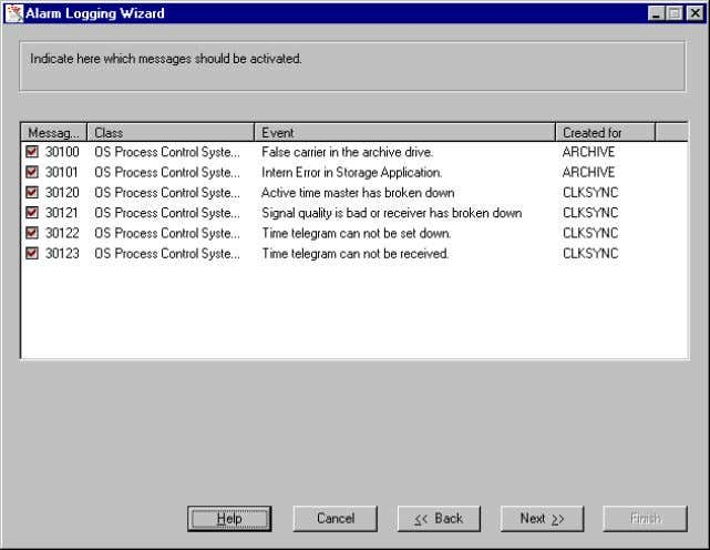 08.97 2.2.2 Activating Process Control System Messages Use this dialog to stop individual process control system
