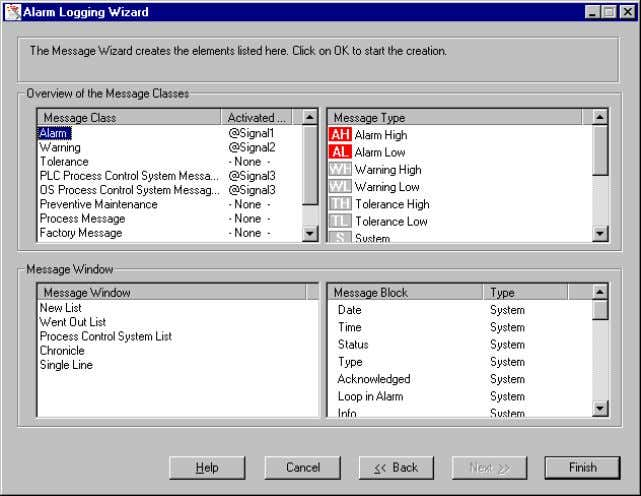 "Basic Process Control 08.97 2.2.4 Overview The elements that the ""Alarm Logging"" Wizard creates are displayed"