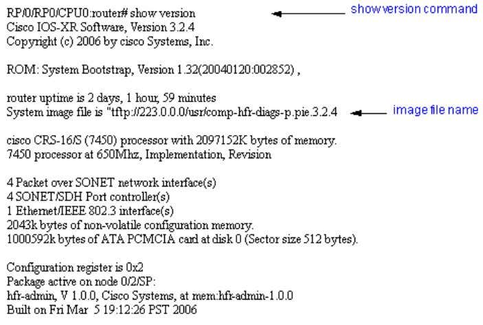 Example of the show version command on a Cisco CRS-1 router (See figure 13). Figure