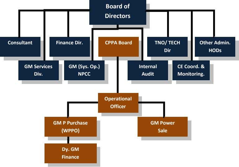 Board of Directors Consultant Finance Dir. CPPA Board TNO/ TECH Other Admin. Dir HODs GM