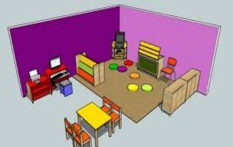 Figure 4 : An example of a reading corner and a multimedia corner. g) Classroom decoration