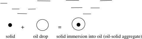 + = solid oil drop solid immersion into oil (oil-solid aggregate)