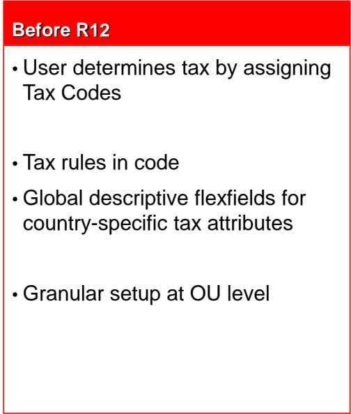 Before R12 • User determines tax by assigning Tax Codes • Tax rules in code •