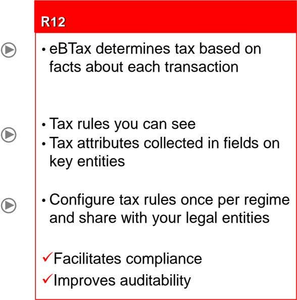 R12 • eBTax determines tax based on facts about each transaction • Tax rules you can
