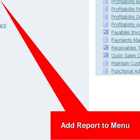 Add Report to Menu
