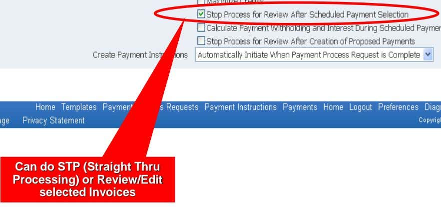 Can do STP (Straight Thru Processing) or Review/Edit selected Invoices