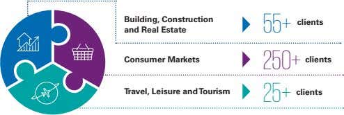 Building, Construction and Real Estate 55+ clients Consumer Markets 250+ clients Travel, Leisure and Tourism