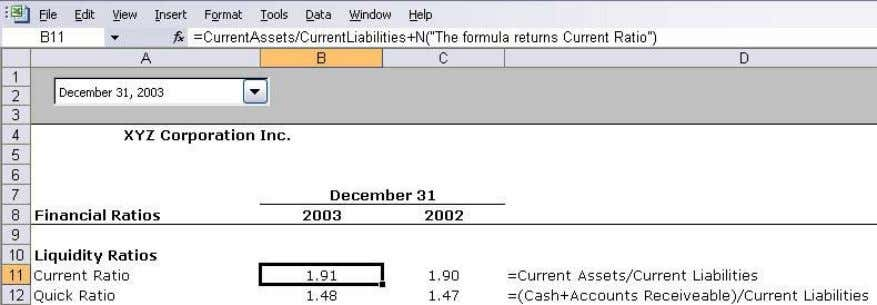 "N(""The formula returns Current Ratio"") Printing Formula Syntax To print the formula syntax for a"