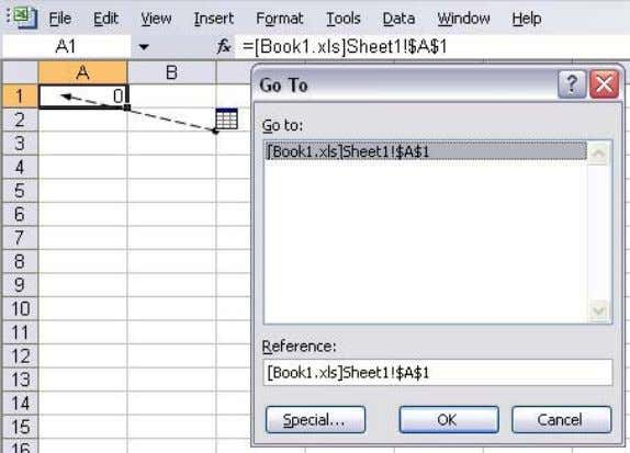 Precedents . Double-click the dotted-line arrow to open the Go To dialog box, select the address,