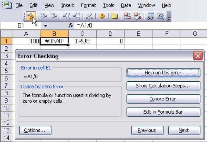 of the Auditing Formulas toolbar). OR Use the Smart Tag to open the Error Checking dialog