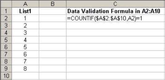 to pop up, forcing the user to enter a different value. Explanation: The COUNTIF function returns