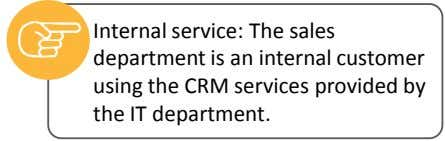 Internal service: The sales department is an internal customer using the CRM services provided by the