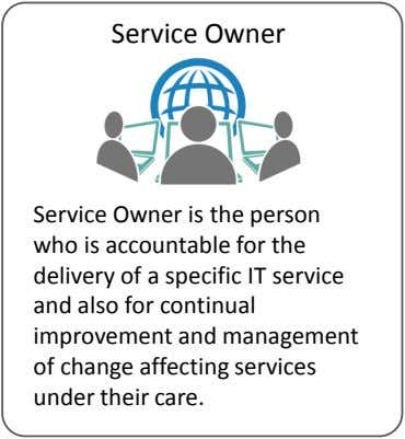 Service Owner Service Owner is the person who is accountable for the delivery of a specific