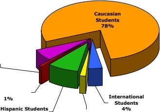 Caucasian Students 78% 1% International Students Hispanic Students 4%