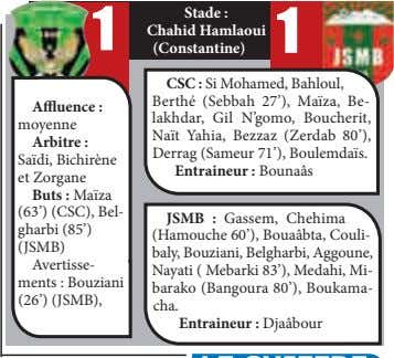 Stade : 1 Chahid Hamlaoui 1 (Constantine) CSC : Si Mohamed, Bahloul, Affluence : moyenne